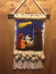 Navidad Tapestry Weaving, Loom Weaving, Felted Wool Crafts, Woven Wall Hanging, Felt Art, Xmas Decorations, Needle Felting, Wool Felt, Diy And Crafts