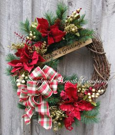 Christmas Wreath, Holiday Wreath, Christmas Floral, Poinsettia, Designer Christmas, Woodland Wreath