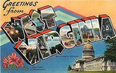 West Virginia WV 1940 Large Letter Greetings from West Virginia Vintage Postcard - Moodys Vintage Postcards - 1