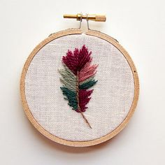 Hoop Art Feather Embroidery, Boho Wall Art, 3 inch hand-embroidered wall…