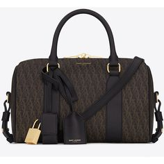 Saint Laurent Classic Toile Monogram Baby Duffle Bag In Black Printed... ($1,150) ❤ liked on Polyvore featuring bags, black, monogrammed bags, leather bags, canvas duffel bag, duffle bag and yves saint laurent bags