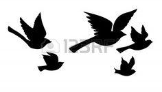 vector silhouet vogels vliegen op witte achtergrond Stockfoto