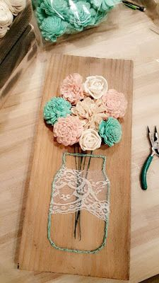 Sola Wood Flower Crafts Mason jar string art