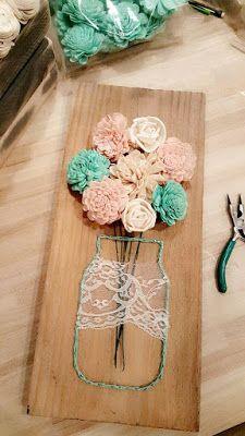 Sola Wood Flower Crafts Mason jar string art