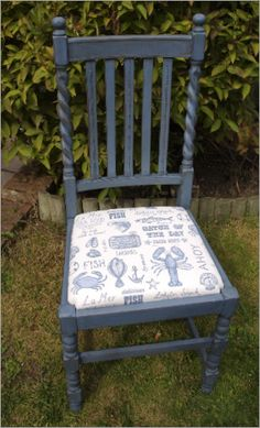 Shabby Chic barley twist chair hand painted in Annie Sloan Greek Blue with dark and light wax. The chair seat has been reupholstered in a quirky seafood print cotton fabric