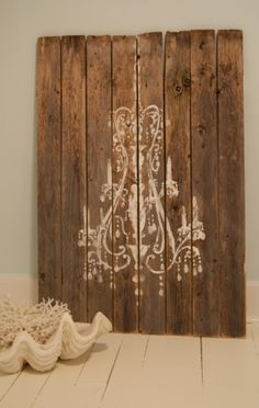 Chandelier Painted on Distressed Boards ~