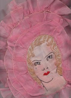 Marcel wave style hair and a beauty mark!------ Vintage 30's Tinted Embroidered Flapper Boudoir Doll Lady Face Ruffles Pillow
