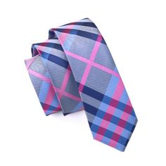 Men Ties Silk Skinny Ties For Men Slim Tie Plaid Multi-Color Necktie