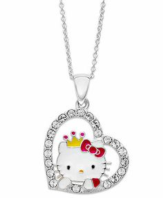 Hello Kitty Necklace, Sterling Silver Princess Kitty Crystal Heart Pendant
