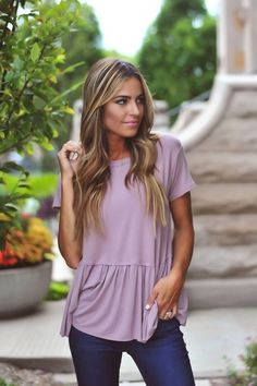 Sweet & Girly ⟡ Shop this Mauve Short Sleeve Ruffle Top {$34} - Perfect for summer and fall! More trendy fashion at DottieCouture.com