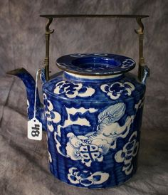Chinese Canton blue and white porcelain teapot