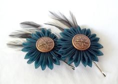 Kanzashi Bobby Pins w/ Flowers Teal and Copper by ScarlettandMaria, $28.00