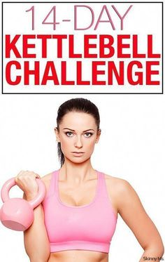 Spice up your workout routine with kettlebells! Begin this 14 Day Kettlebell Challenge tomorrow. Spice up your workout routine with kettlebells! Kettlebell Training, Kettlebell Challenge, Kettlebell Cardio, Workout Challenge, Kettlebell Benefits, Cardio Hiit, Fitness Workouts, Fitness Herausforderungen, At Home Workouts