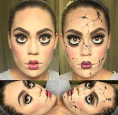 Are you looking for inspiration for your Halloween make-up? Navigate here for creepy Halloween makeup looks. Scary Doll Costume, Broken Doll Costume, Creepy Doll Makeup, Broken Doll Makeup, Cracked Doll Makeup, Creepy Halloween Makeup, Amazing Halloween Makeup, Scary Dolls, Halloween Kostüm