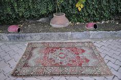 """Pure Wool Rare Anatolian Turkish Rug 3'6"""" x 5'2"""" Floor Rug Home decor Area Rug Boho Rug Turkey Rug Wool Rug Nomadic Rug Aztec Rug - Rugs"""