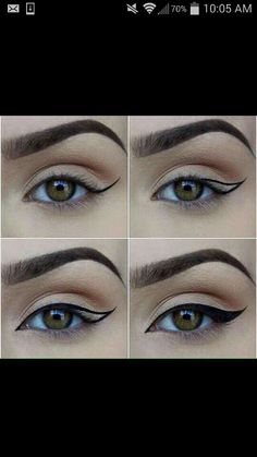 Flawless winged liner with a slight natural shadow.