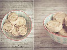 Bananen-Sushi mit Zimt, Erdnussbutter & Nutella