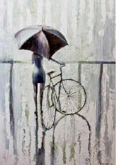 Items similar to PACIFICA 2011 Original Oil Painting printed on Canvas Painting Umbrella and rain Art print on Etsy Arte Black, Rain Painting, Blue Painting, Ghost In The Machine, Rain Art, Bike Poster, Umbrella Art, Walking In The Rain, Amazing Paintings