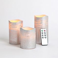 Set of 3 Sliver Wax Flameless LED Battery Candles with Timer and Remote -- You can get additional details at the image link.