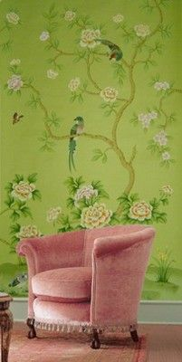 bright green & birds  wallpaper