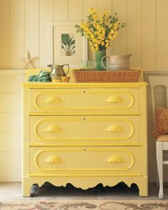 """By itself the citron yellow on this Victorian chest seemed pallid. But a rich honeyed drawer trim -- not an obvious choice -- galvanized it. """"The greater the chance you take with yellows"""" says Stephen Earle """"the greater the reward."""" - May 12 2019 at Rustic Furniture, Antique Furniture, Living Room Furniture, Painted Furniture, Modern Furniture, Outdoor Furniture, Inexpensive Furniture, Furniture Logo, Deco Furniture"""