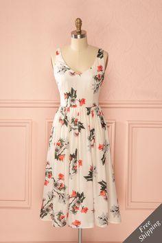 Kardelen - Cream colorful floral print midi dress