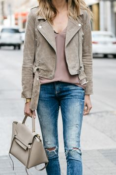 Fashion Jackson, Street Style, Blanknyc Tan Suede Moto Jacket, Blush Cami, Denim Ripped Skinny Jeans, Black Lace Bralette