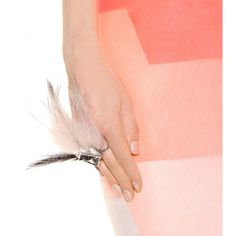 Fendi CRYSTAL AND FOX-FUR EMBELLISHED DOUBLE-FINGER RING  € 540,00
