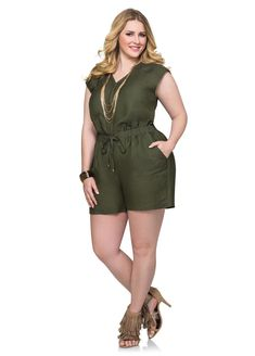 Linen Quilted Shoulder Romper-Plus Size Shorts-Ashley Plus Size Romper, Plus Size Jumpsuit, Plus Size Dresses, Plus Size Outfits, Curvy Women Fashion, Cute Fashion, Plus Size Fashion, Fashion Outfits, Mode Plus