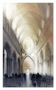 nave - wells cathedral by Thomas W Schaller Watercolor