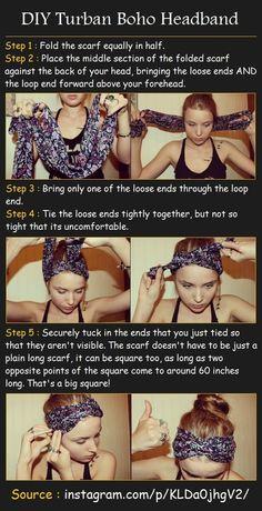 DIY Turban Boho Headband by Pinterest Tutorials by Charlie.