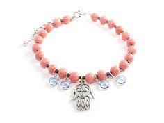 "Hamsa Armband ""Ganga"" in Coral Pink & 925er Silber"