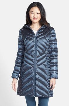 Bernardo Hooded Packable Long Goose Down Walking Coat on shopstyle.com