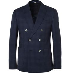 Navy Slim-Fit Double-Breasted Wool Blazer | MR PORTER