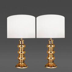 Orrefors Pair of Gold Glass Lamps Flygsfors for Orrefors Sweden c 1960s
