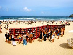 Ikea celebrated its birthday in 2010 by building this largest-ever outdoor bookcase. It was up for only one day, but beach goers were invited to participate in a book swap or make a donation. Bondi Beach is in New South Wales, Australia outside of Sydney. I Love Books, Books To Read, Marie Stuart, Beach Reading, Reading Room, Bondi Beach, Seaside Towns, Lectures, Book Nooks