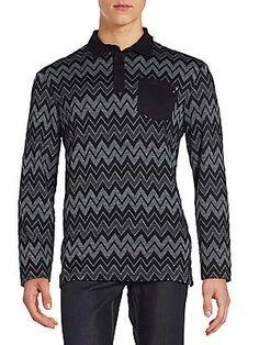 Versace Jeans Chevron-Print Polo Shirt - Charcoal - Size