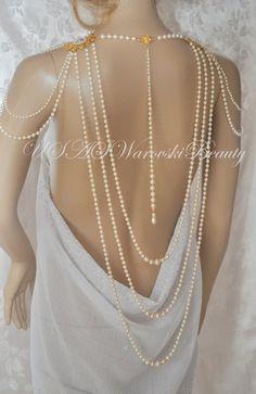 Necklace For Shoulders OOAK Bridal Jewelry von USASwarovskiBeauty