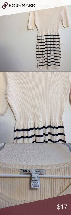 MNG Mango white and blue striped dress. Size Med MNG Mango brand white and blue striped dress. Size Med. Top is ribbed and bottom is striped. Barely worn. Mango Dresses Midi