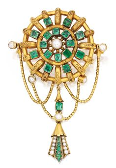 GOLD, EMERALD AND PEARL BROOCH, CARLO GIULIANO Of openwork design, the circular motif suspending a fringe of swag design, set with 16 pearls and accented by 25 emerald and cushion-cut emeralds, gross weight approximately 19 dwts, signed C.G. for Carlo Giuliano; circa 1865.
