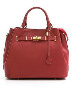 Another great find on #zulily! Red Cinched Leather Satchel #zulilyfinds