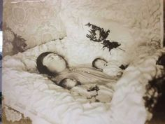 Victorian post mortem photography of mother with twins.