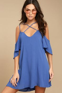 Bask in the glory of all the compliments the Afterglow Royal Blue Shift Dress gets you! Gauzy woven rayon falls from two sets of adjustable skinny straps, into a shift bodice framed by short, cold-shoulder sleeves. Strappy V-back.