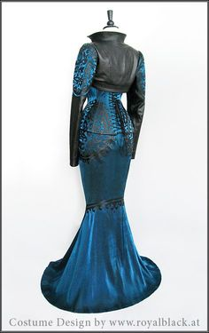 Deep blue lamé and black leather corset dress by Royal Black Couture & Corsetry