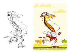 Rollerskating Giraffe Illustration by Josh Cleland