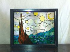 Starry Night stained glass Backlit lightbox by ElektraImages, $1300.00