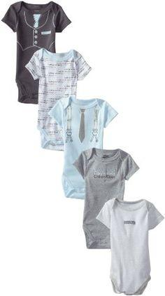Calvin Klein Baby-Boys Newborn 5 Pack Short Sleeve Bodysuit And Group, Multi, 0/3 Months