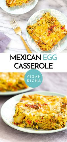 This Vegan Mexican Egg casserole gets a delicious Mexican flair with layers of roasted potatoes, onion and bell peppers, spinach, tomatoes, cheese, and fluffy tofu eggs seasoned with taco spice. You while family will gobble this easy brunch recipe up! Nut-free + gluten-free option. Mexican Breakfast Casserole, Savory Breakfast, Vegan Breakfast Recipes, Vegan Mexican Recipes, Vegan Recipes, Cooking Recipes, Mexican Eggs, Taco Spice, Vegan Meal Prep