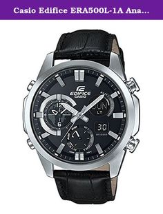 Casio Edifice ERA500L-1A Analog Digital with Black Leather Band. Perfect either for the world traveler or anyone who's loved ones are always on the go, this dual-time watch from Casio Edifice allows for you to keep simultaneous times for two cities. The analog-digital dial displays a second city sub-dial, day and date displays, and a sub-dial for AM/PM, alarm, world time mode, stopwatch, and timer. Additionally, the watch is built with not just luminous hands and indices, but also with an...