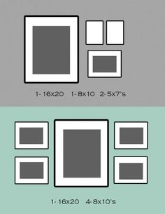 picture frame ideas - I like the 16x20 and the 4 8x10 for the dining table area